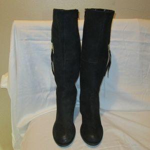 Black Leather Steve Madden Antsy Knee Boots 9